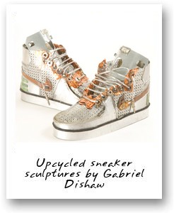 Upcycled sneaker sculptures by Gabriel Dishaw
