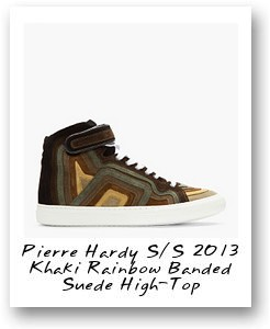 Pierre Hardy S/S 2013 Khaki Rainbow Banded Suede High-Top