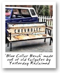 'Blue Collar Bench' made out of old tailgates by Yesterday Reclaimed