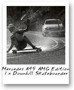 Mercedes A45 AMG Edition 1 x Downhill Skateboarder