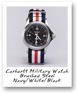 Carhartt Military Watch Brushed Steel Navy/White/Black
