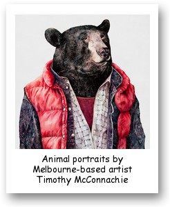 Animal portraits by Melbourne-based artist Timothy McConnachie