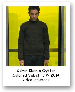 Calvin Klein x Oyster Colored Velvet F/W 2014 video lookbook