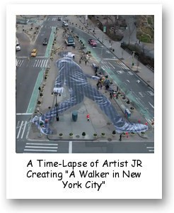 "A Time-Lapse of Artist JR Creating ""A Walker in New York City"""