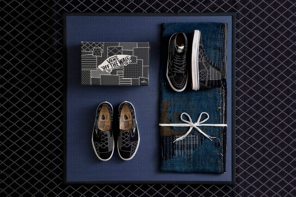 "Sneakers FDMTL x Vans ""Dark Indigo Sashiko"" Sk8-Hi et Slip-On"