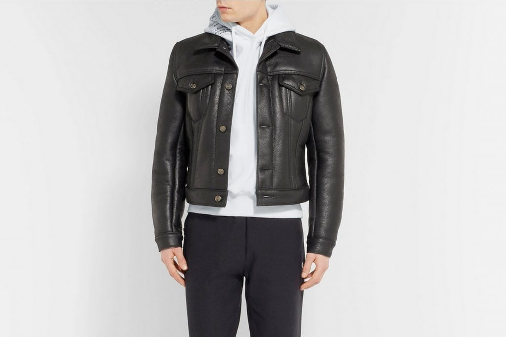 Vetements x Schott Cropped Shearling Biker Jacket