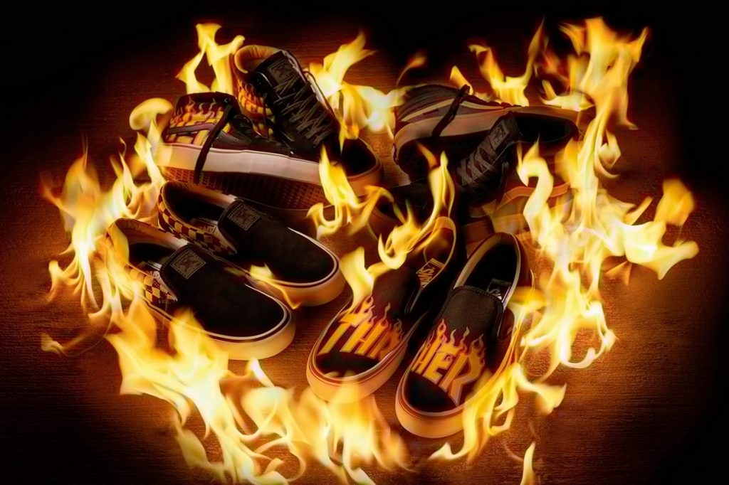 "Collection ""Flames Logo"" textile et chaussures Thrasher x Vans"