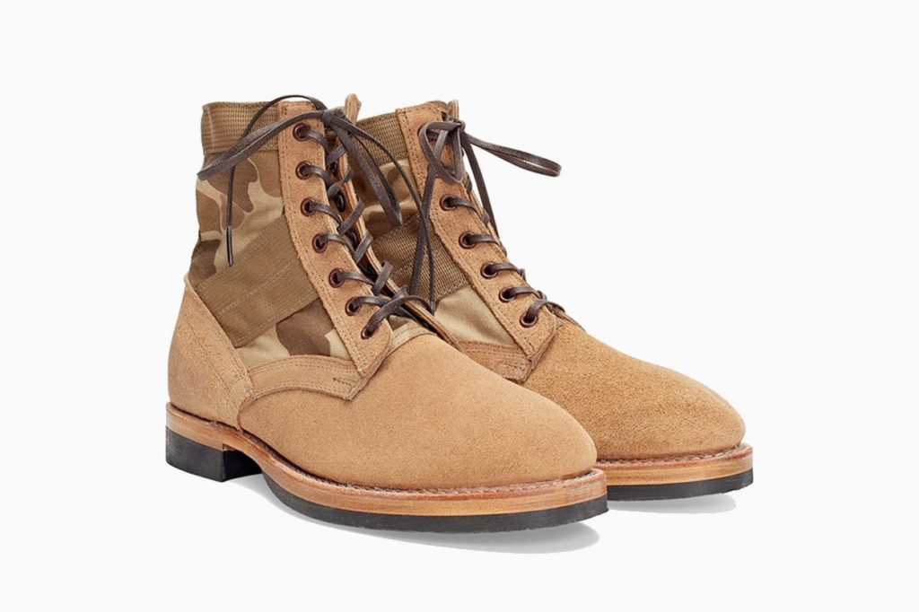 RRL Camo Canvas-Suede Boot