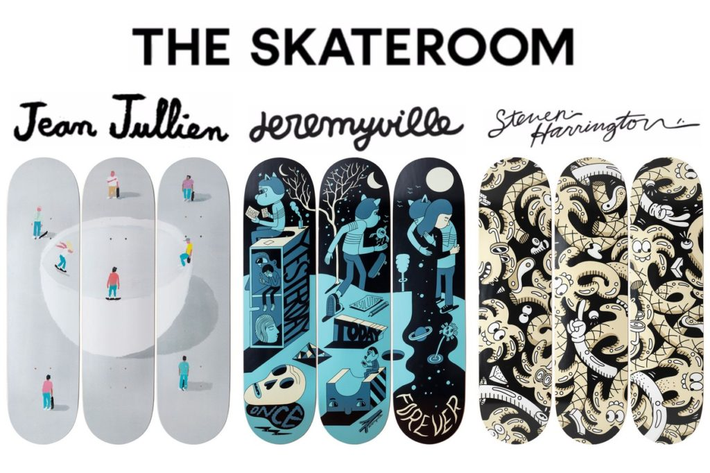 The Skateroom x Jean Jullien, Steven Harrington & Jeremyville