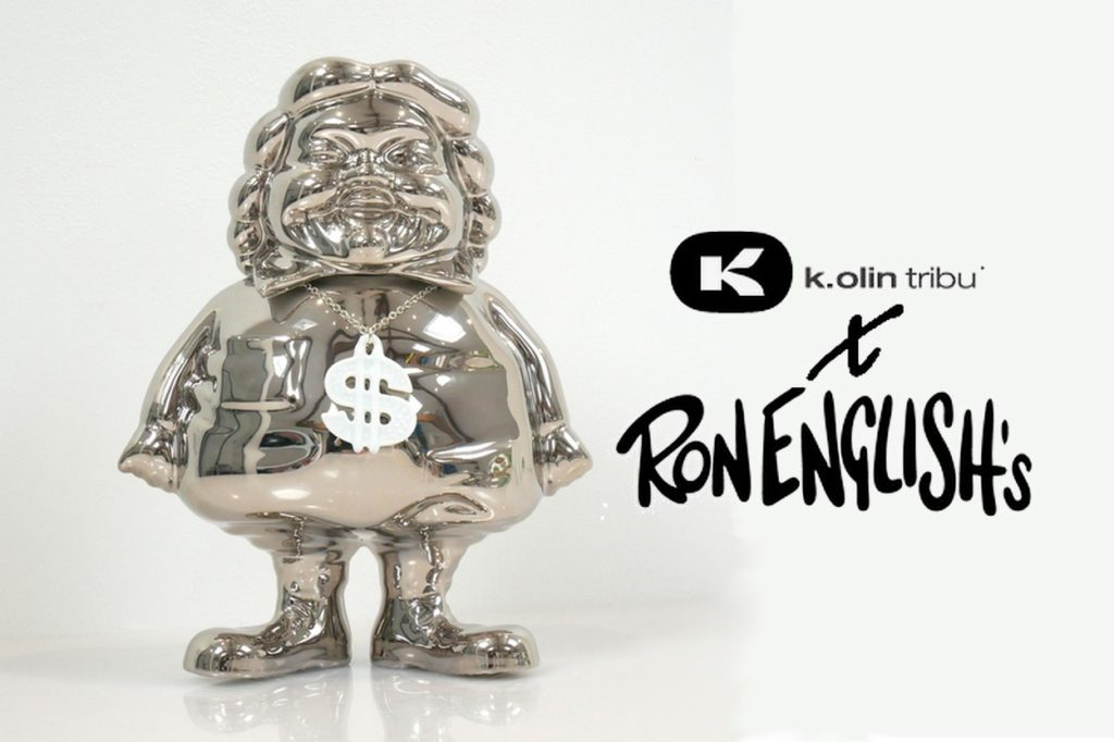 MC Supersized Platinum Porcelain by Ron English x K.Olin tribu