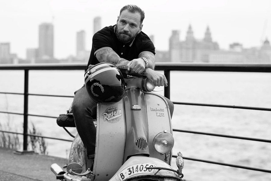 Casque de moto Fred Perry x Davida