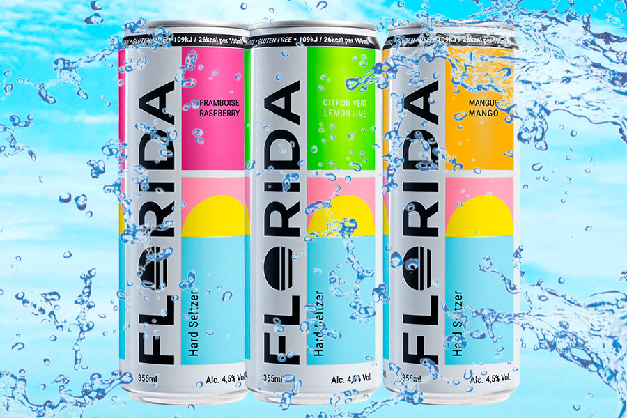 FLORIDA Hard Seltzer parfums mangue et framboise