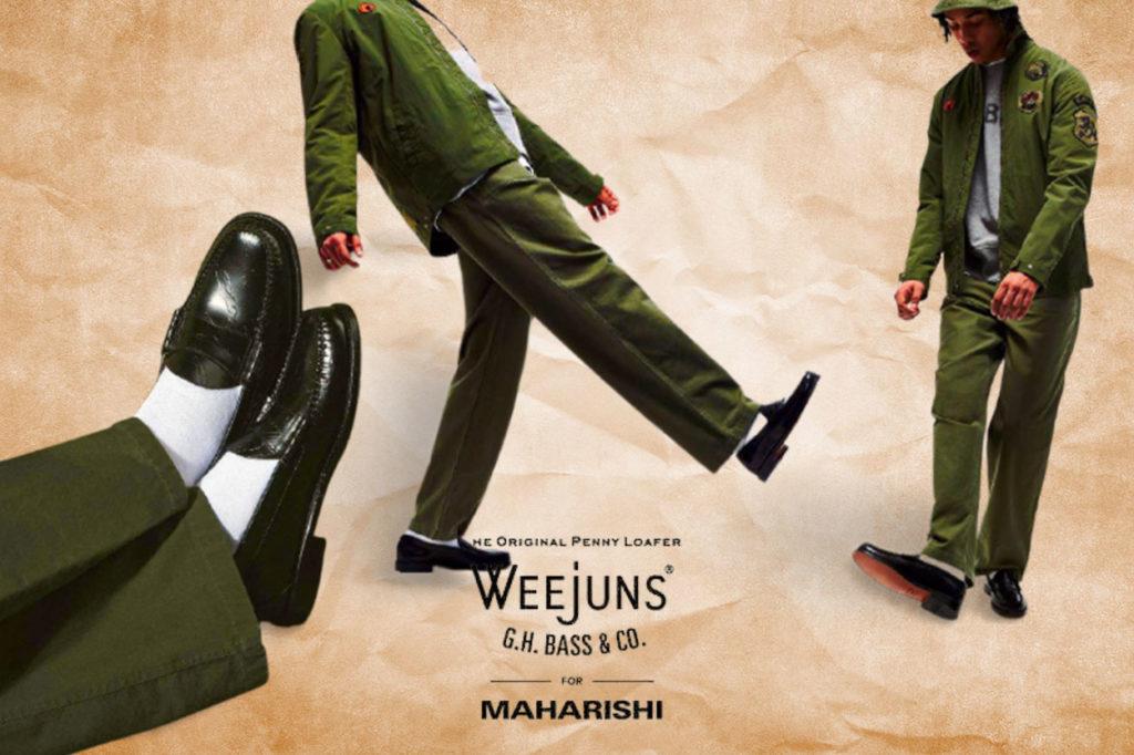"Collaboration Maharishi x G.H. Bass & Co. Weejuns ""Bonsai Forest"""